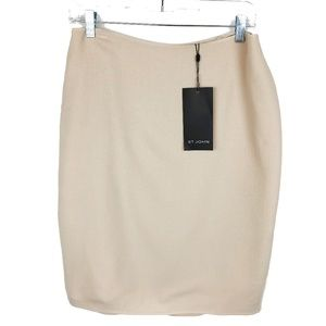 NWT St. John Textured Wool Pencil Skirt Cream 6